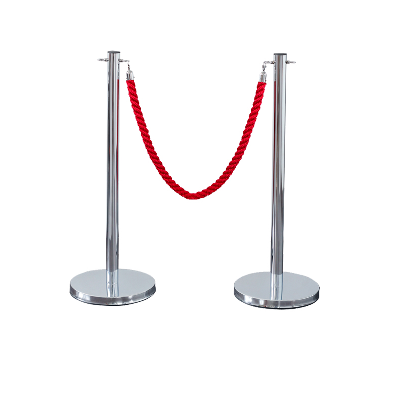 Stainless Steel Rope Barrier Stanchion Museum Exhibition Barrier Stanchion With Rope