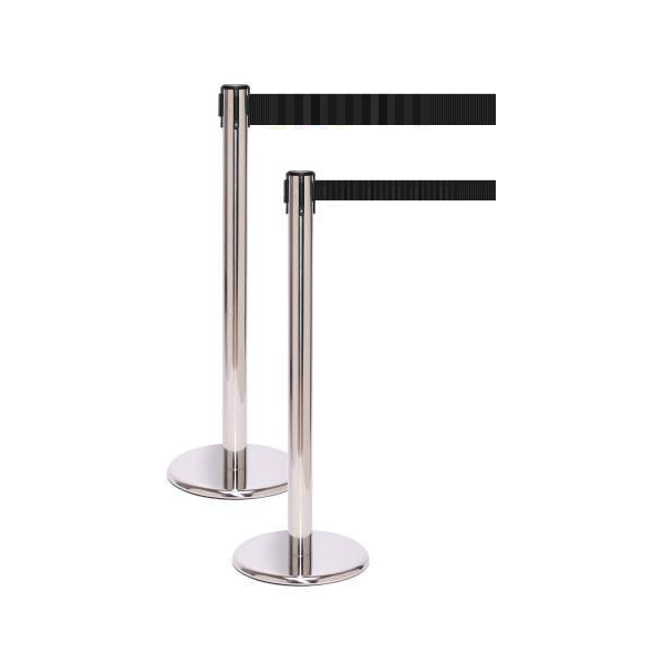 ETRACTABLE BELT BARRIER POLISHED STAINLESS STEEL WITH FLAT CAST IRON BASE 350MM