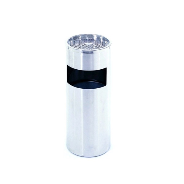 Round Street Steel Trash Can With Funnel Top for Office